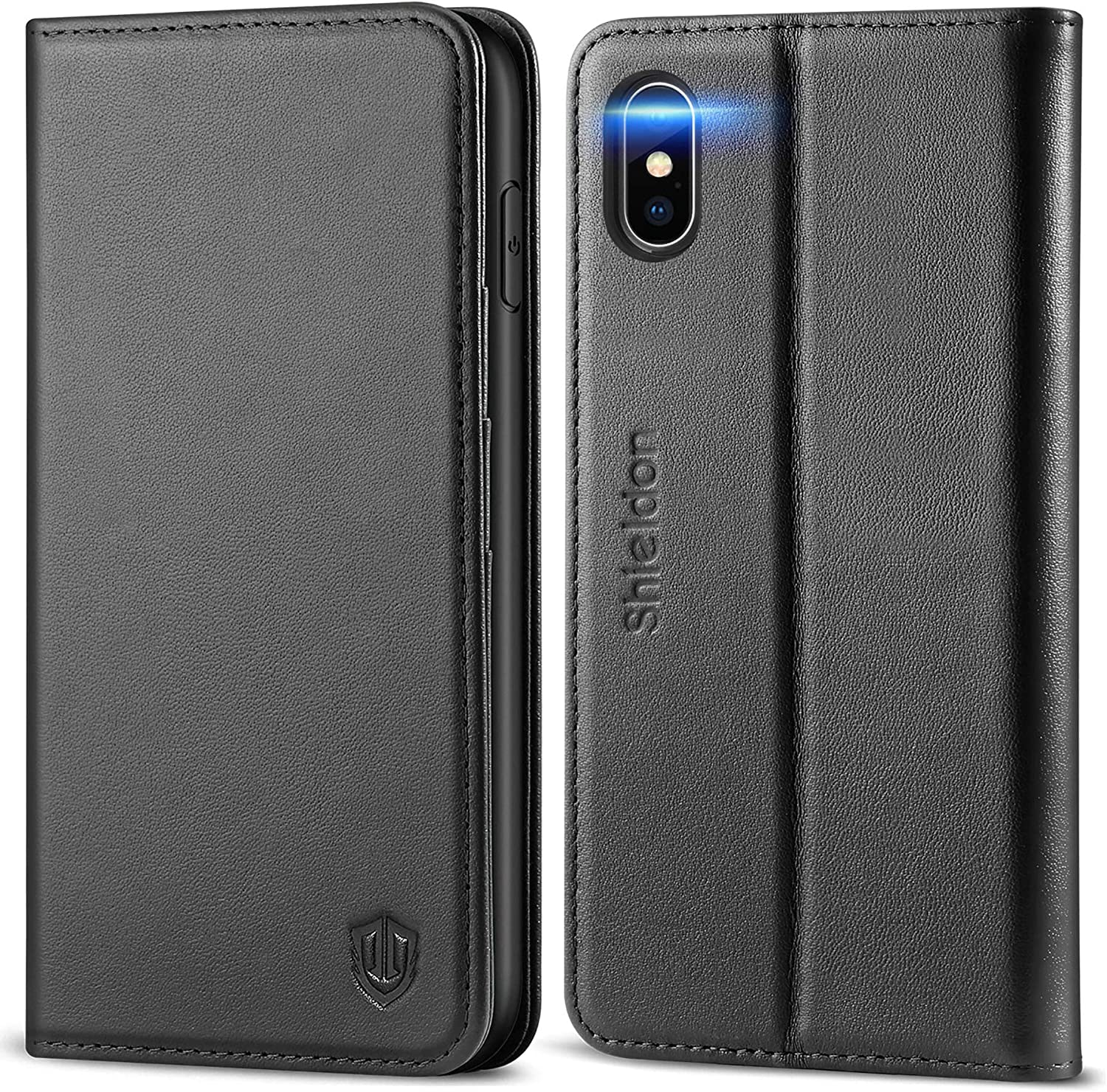 SHIELDON iPhone Xs Max Case, Genuine Leather iPhone Xs Max Wallet Case Auto Wake Sleep RFID Blocking Credit Card Slot Flip Magnetic Stand Case Compatible with iPhone Xs Max (6.5-inch 2018) - Black