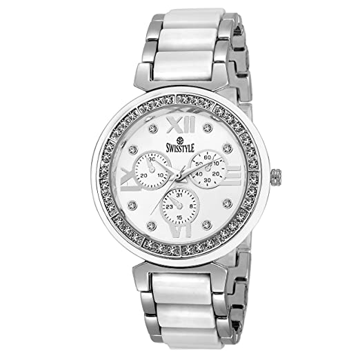 8ee04ad2647 Buy Swisstyle Analog white dial Women s Watch - SS-LR703-WhT-BCH Online at Low  Prices in India - Amazon.in