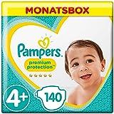 Pampers Premium Protection Windeln, Gr.4+ Maxi Plus, 10-15kg, Monatsbox, 1er Pack (1 x 140 Stück)