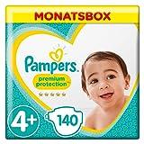 Pampers Premium Protection Windeln, Gr. 4+ Maxi Plus (10-15kg), Monatsbox, 1er Pack (1 x 140 Stück)