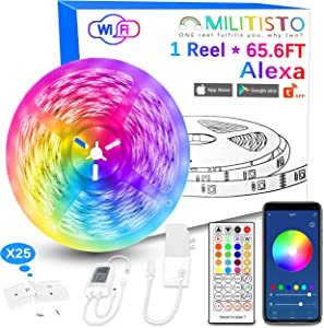 Militisto LED Light Strips 65.6ft (1-Pack) - Alexa Smart LED Strip Lights Compatible with Echo,Google Home - Music LED Lights for Bedroom,Aesthetic Room Decor,Smart Home, Home Decorations, Dorm Decor