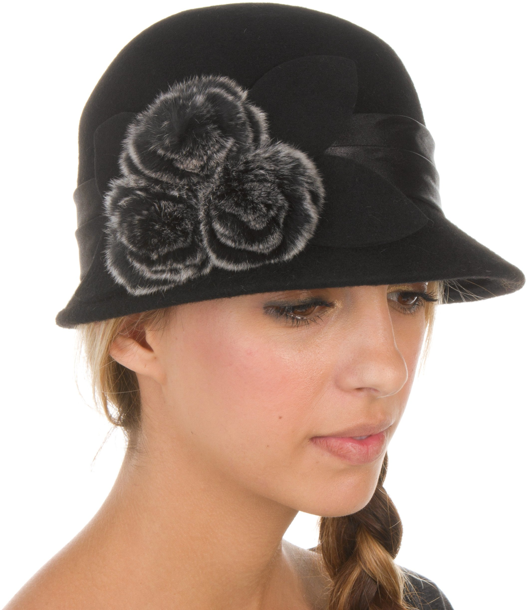 Sakkas 7841LC Sadie Faux Fur Vintage Style Wool Cloche Bucket Bell Hat - Black - One Size