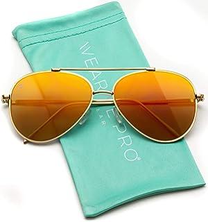 61b2ff2e84d Amazon.com  Retro Mirror Aviator Sunglasses Flash Tinted Lens ...