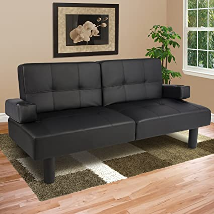 Excellent Amazon Com Black Leather Faux Fold Down Futon Sofa Bed Squirreltailoven Fun Painted Chair Ideas Images Squirreltailovenorg