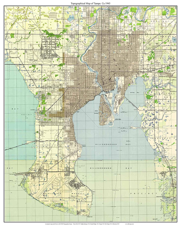 Amazon.com: Tampa Florida 1945 Topo Map - A Composite made ...