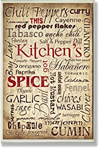 Stupell Home Décor Kitchen Spice Typography Wall Plaque, 10 x 0.5 x 15, Proudly Made in USA