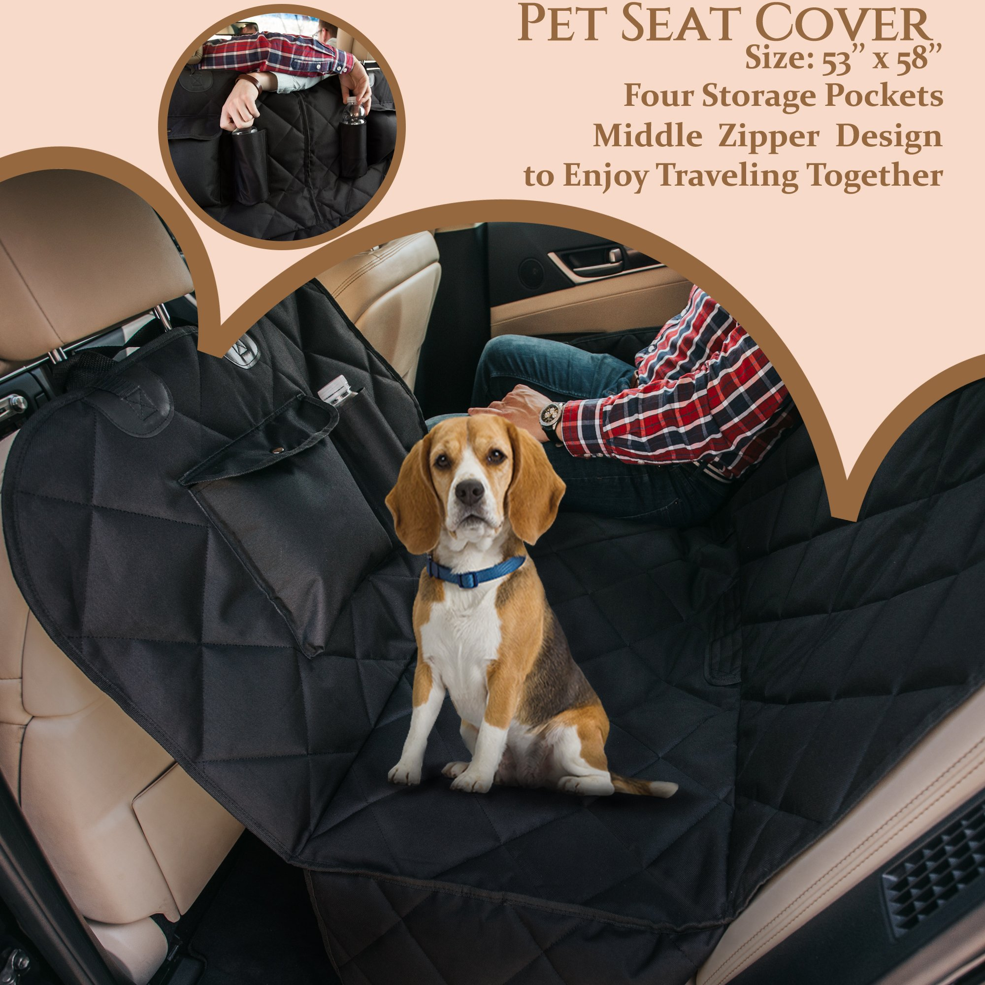 EVOest Dog Car Seat Cover for Cars/Trucks/SUV's,Hammock Convertible, Waterproof Pet Back Seat Protector with Extra Side Flaps, Bonus Pet Seat Belt & Carry Bag (Medium) by EVOest (Image #9)