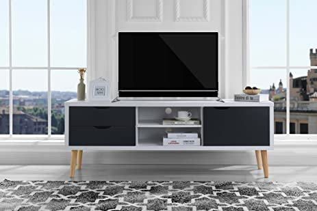 Amazon.com: Mid-Century Style TV Stand, Living Room Entertainment ...
