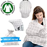 Premium Organic Nursing Cover - Multi-Use Breastfeeding Cover, Baby Car Seat Canopy, Shopping Cart Cover, Infinity Scarf, Shawl - Unisex Soft and Stretchy Cotton, Great Shower Gift by Hati & Dahdah