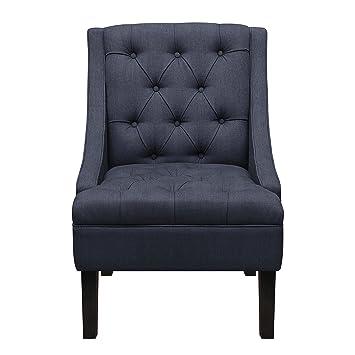 Pulaski Button Tufted Upholstered Arm Chair In Vienna Twilight, Medium, Grey