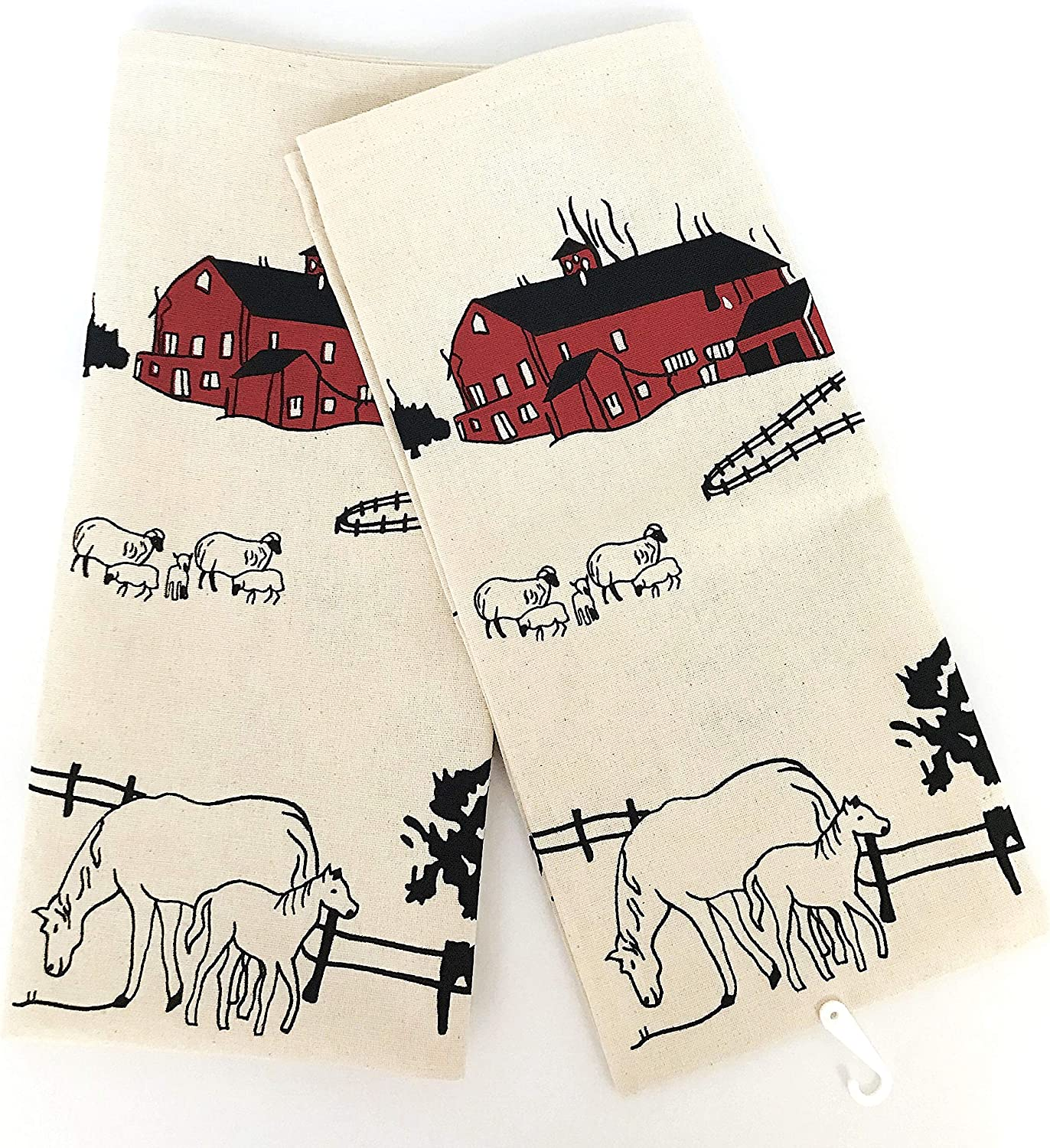 Rustic Cotton Set of 2 Barn Star Hanging Kitchen Towels