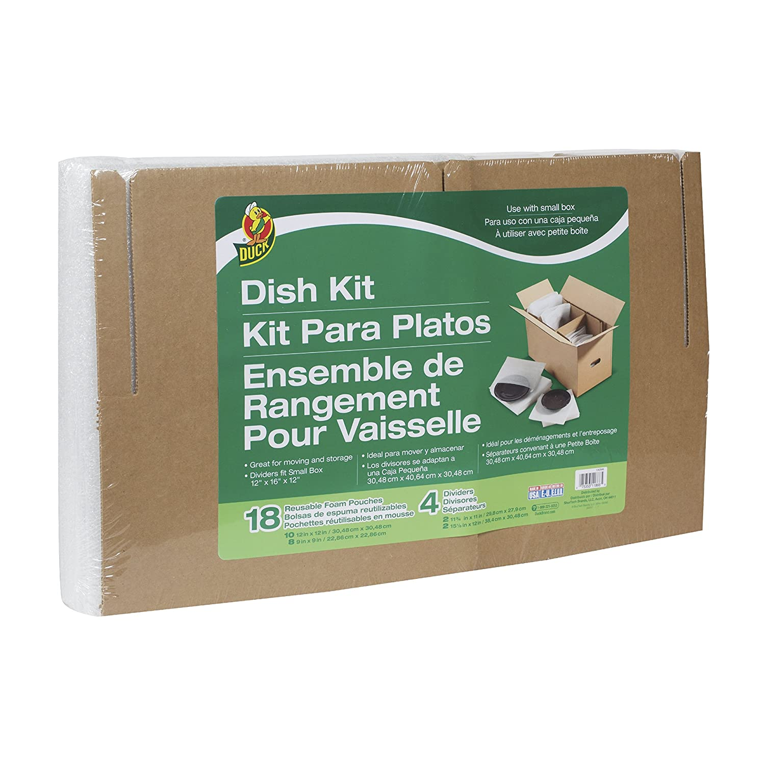 Duck Brand Dish Moving Kit, 4 Corrugate Dividers and 18 Foam Pouches, Box Not Included (1362686)