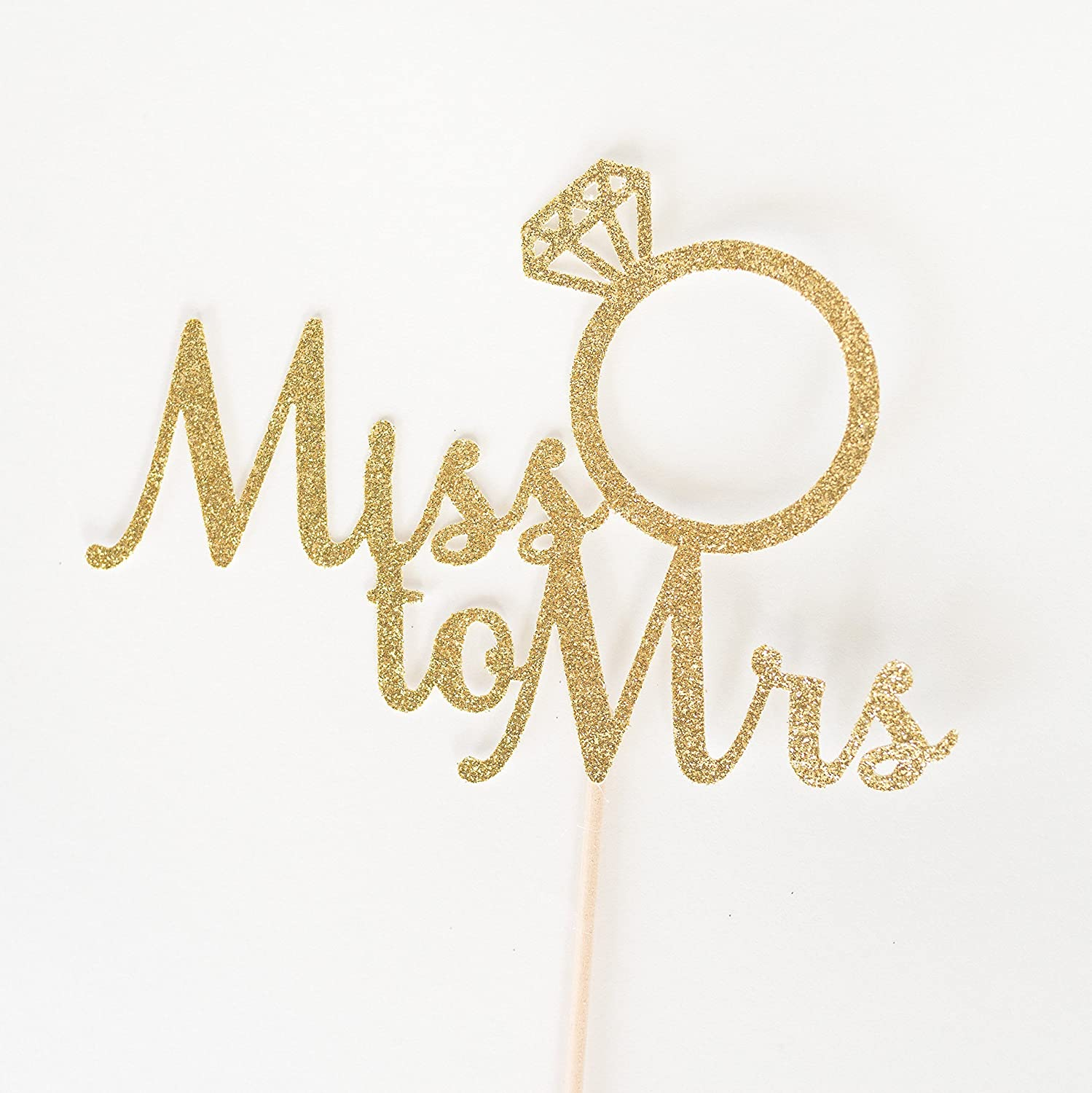 Gold Glitter Miss To Mrs Script Cake Topper, Bridal Shower, Engagement Party, Bachelorette, Stagette, Ring