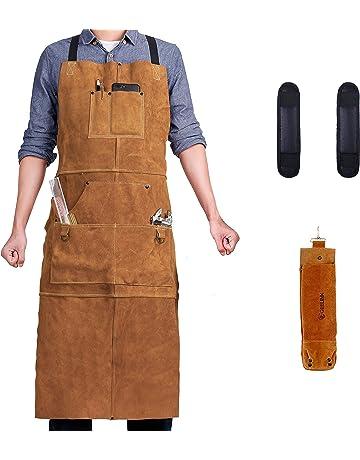 Delantal de soldadura de cuero con 6 bolsillos – Heavy Duty Herramientas Shop Delantal de trabajo