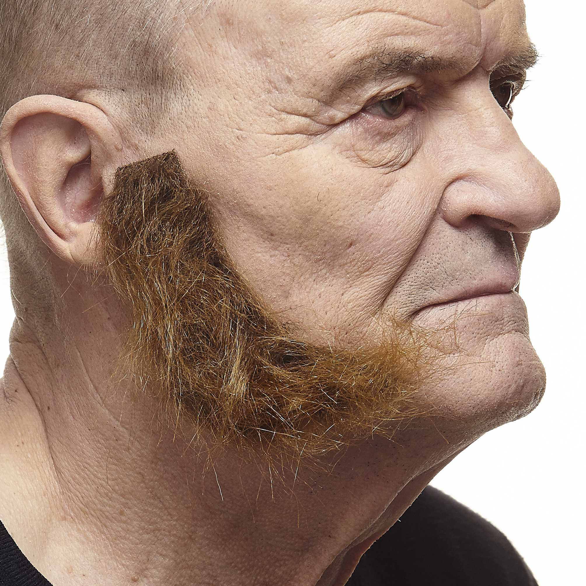 Mustaches Self Adhesive, Novelty, Realistic, Fake, L Shaped Mutton Chops Sideburns, Brown Color