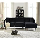 Mid-Century Modern Brush Microfiber Sectional Sofa, L-Shape Couch with Extra Wide Chaise Lounge (Black)