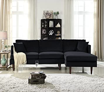 midcentury modern brush microfiber sectional sofa lshape couch with extra wide