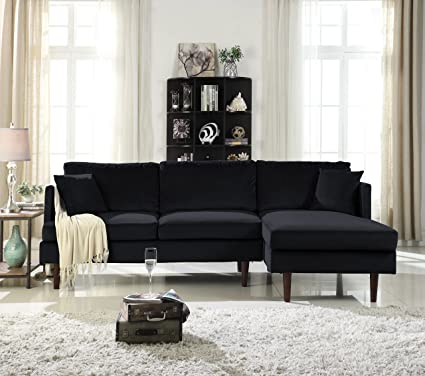 Mid Century Modern Brush Microfiber Sectional Sofa, L Shape Couch Extra Wide  Chaise
