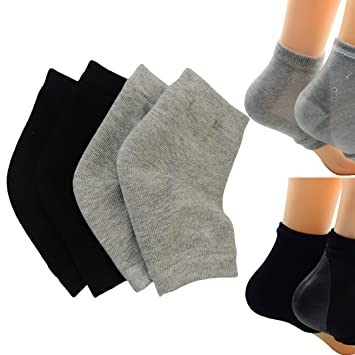 890dd715e Amazon.com   Makhry 2 Pairs Moisturizing Silicone Gel Heel Socks for Dry  Hard Cracked Skin Open Toe Comfy Recovery Socks Day Night Care (Black and  Grey)   ...