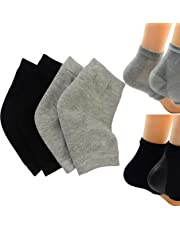 Makhry 2 Pairs Moisturizing Silicone Gel Heel Socks for Dry Hard Cracked Skin Open Toe Comfy Recovery Socks Day Night Care (Black and Grey)