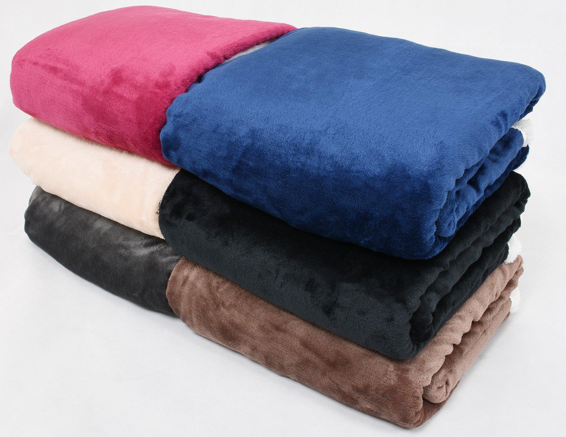 Catalonia Nerz-Fleecedecke, wendbare Sherpa-Tagesdecke, groß, für Sofa, Bett, superweich, bequem, Geschenk, 127x152 cm, Microfaser