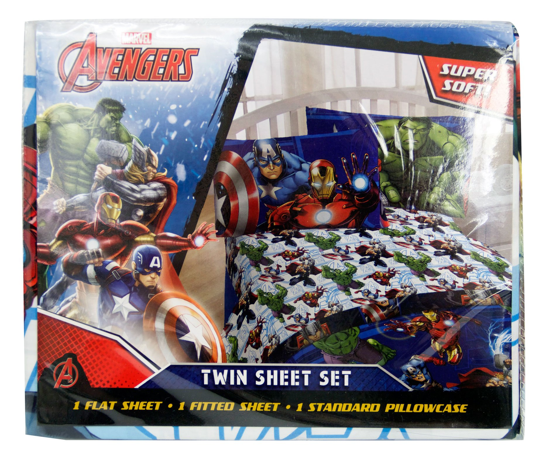 Marvel Avengers Heroic Age Blue/White 3 Piece Twin Sheet Set with Captain America, Thor, Ironman & Hulk by Marvel (Image #5)
