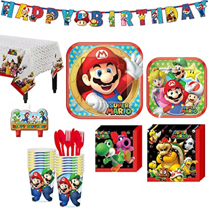 Amazon.com: Kit de fiesta de cumpleaños Super Mario, incluye ...