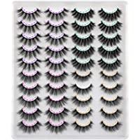 JIMIRE 20 Pairs False Eyelashes 4 Styles Fluffy Eyelashes Pack 3D Volume Faux Mink Lashes Packs