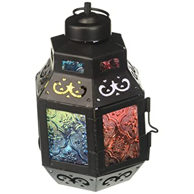 Zings & Thingz 57070827 Colorful Moroccan Candle Lantern Black