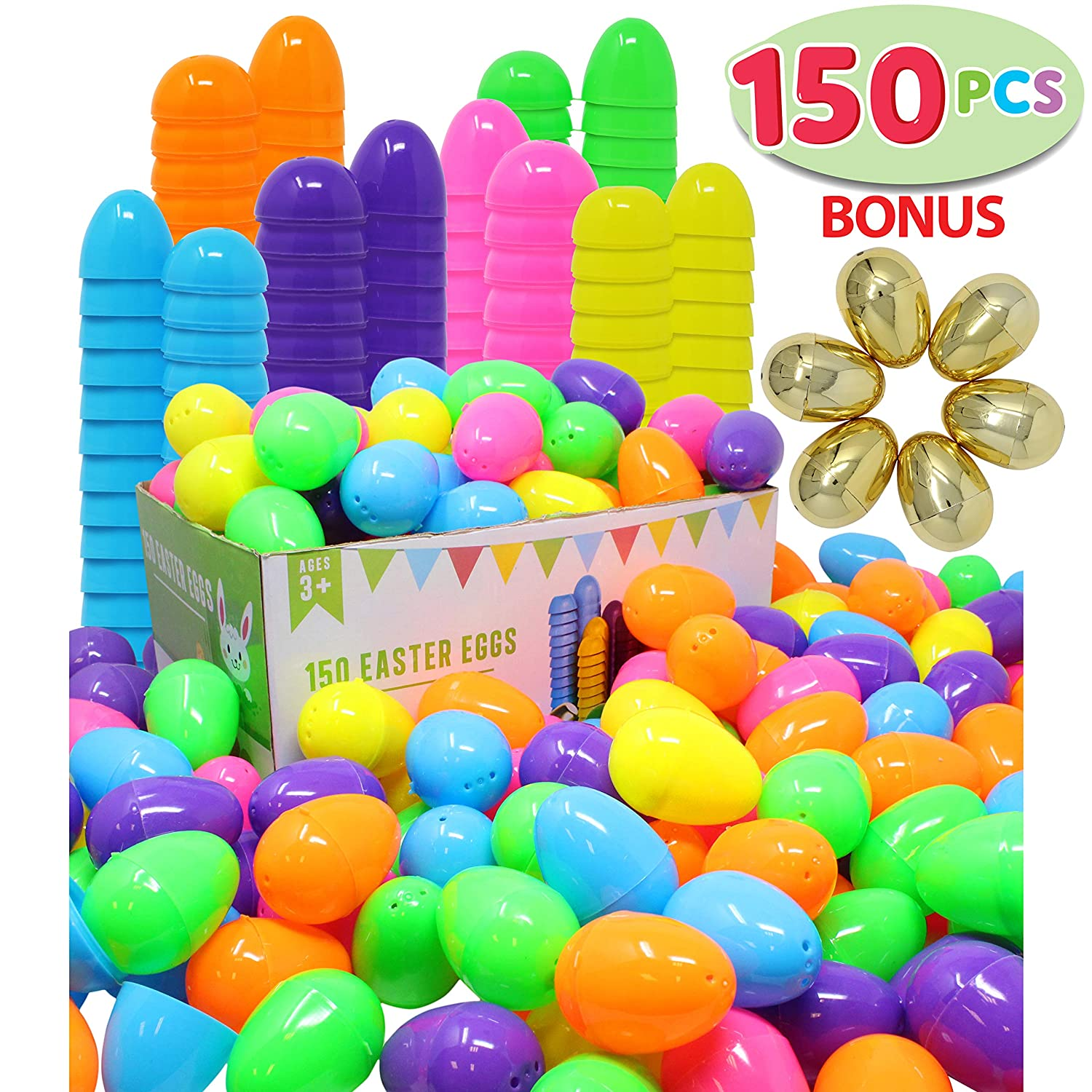6 Golden Eggs for Filling Specific Treats Basket Stuffers Filler 144 Pieces 2 3//8 Easter Eggs Classroom Prize Supplies by Joyin Toy Joyin Inc Easter Eggs Hunt Easter Theme Party Favor