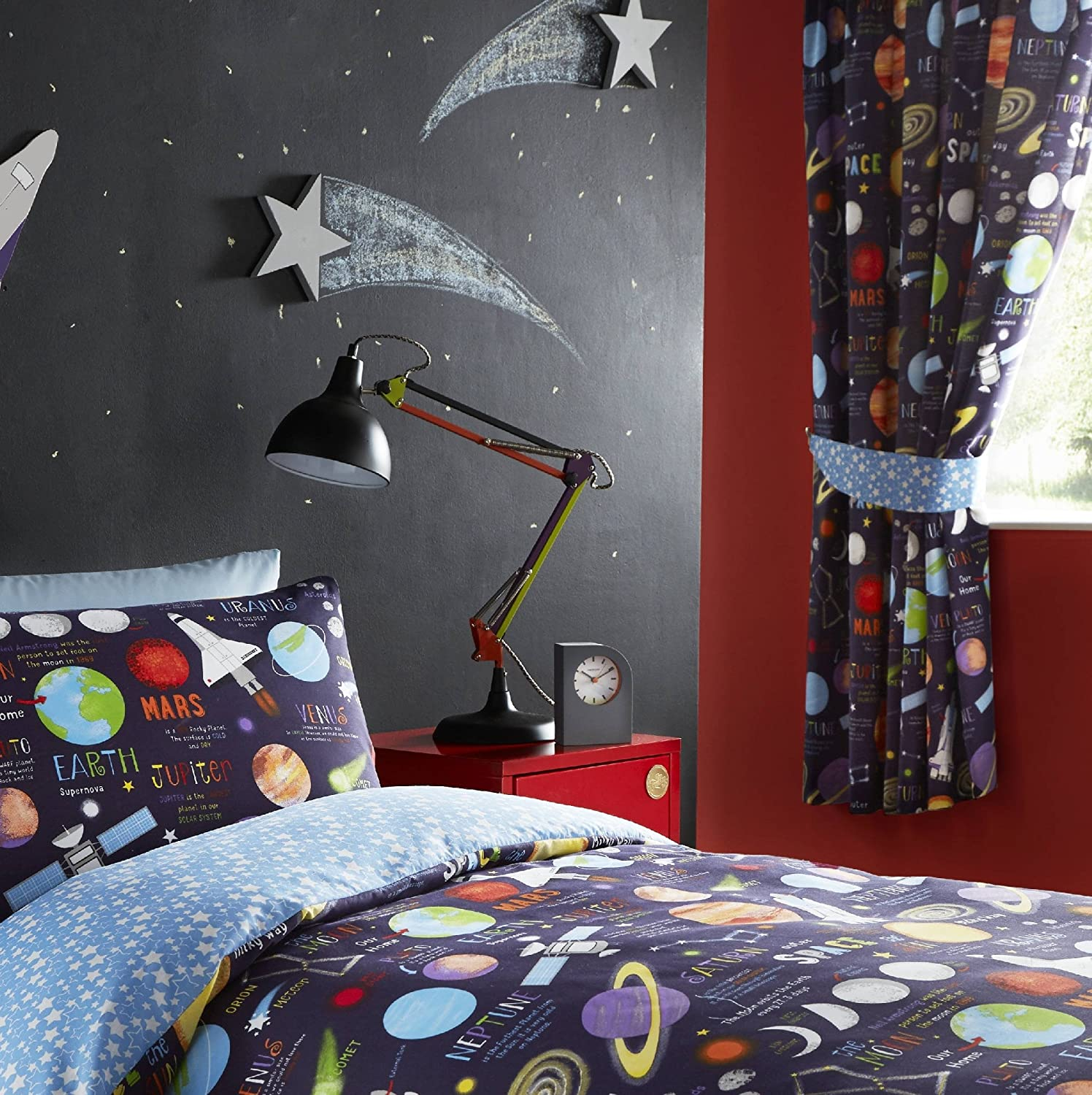 Kidz Club Planets Pencil Pleat Fully Lined Pair Curtains, Fabric, Black, 66 x 72 inch drop