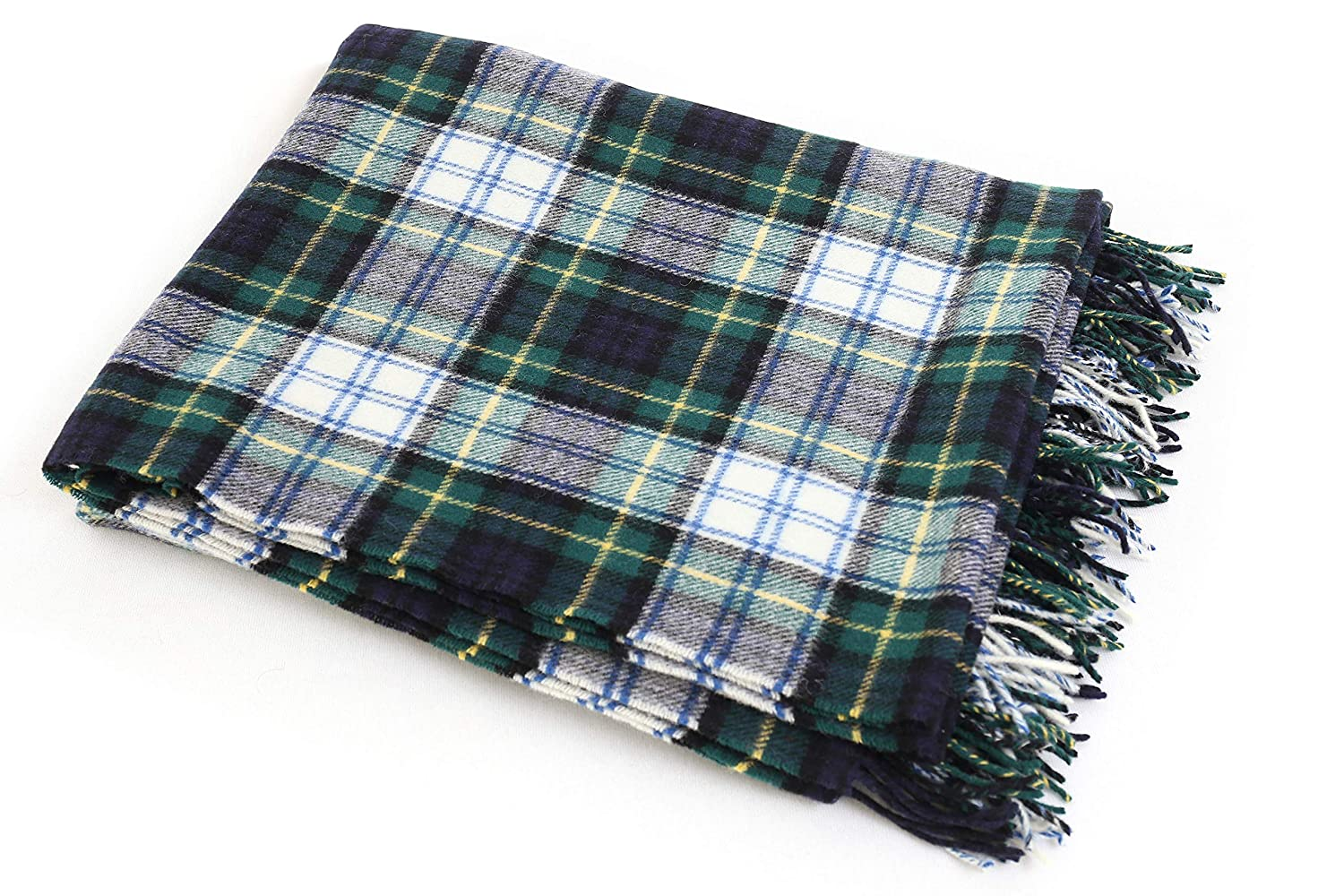 John Hanly Irish Throw Blanket 100/% Lambswool 54 Wide x 71 Long Fringed Soft Warm Irish Gift Home Made in Ireland Green//White Plaid