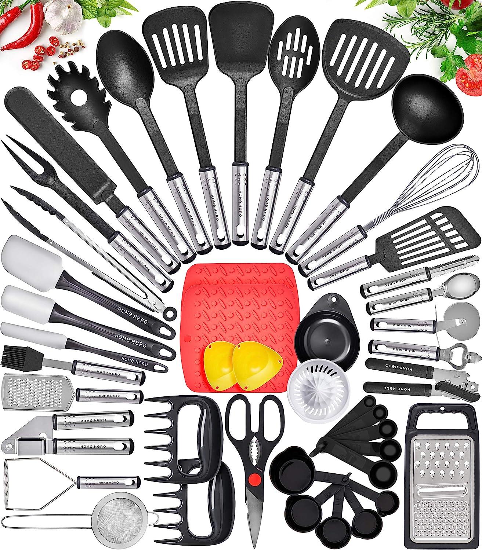 Amazon Com Home Hero Kitchen Utensil Set Cooking Utensils Set Nylon Kitchen Utensils Set Kitchen Tool Set 44 Pcs Cooking Utensil Set Kitchen Set Spatula Set Kitchen Gadgets Kitchen Tools Kitchen Accessories