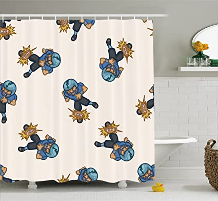 Lunarable Football Shower Curtain Kids Boys Cartoon Competitive Player Hitting The Ball Quarterback Touchdown