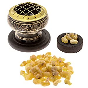 Alternative Imagination Premium Bundle of Black Carved Brass Incense Holder with Frankincense Resin. Comes with 10 Charcoal