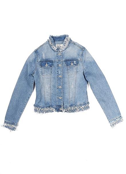 official photos 4a99b af380 Main Company Giubbino donna casual in jeans con perle applicate, rotture e  taschine davanti