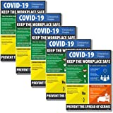 """NMC PST149PP""""Keep The Workplace Safe"""" Social Distancing Poster, 18"""" x 12"""" Paper, 5Pk, Large - Social Distancing Poster"""