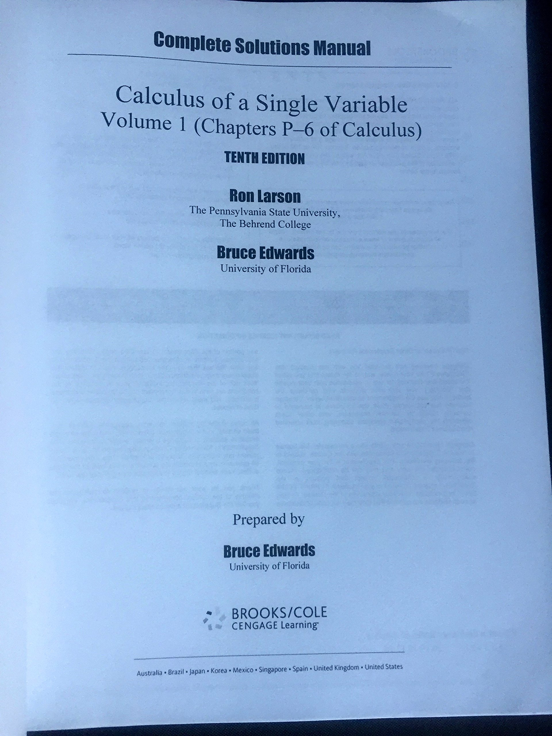 Complete Solutions Manual, Volume 1 for use with Calculus of A Single  Variable: Amazon.com: Books