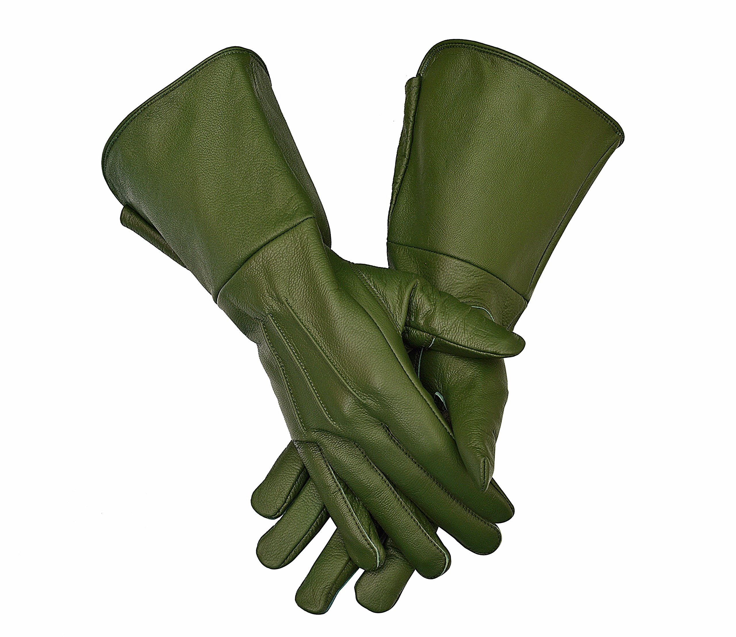 Medieval Gauntlet Leather Cosplay Gloves Long arm Cuff (X-Large, Green)