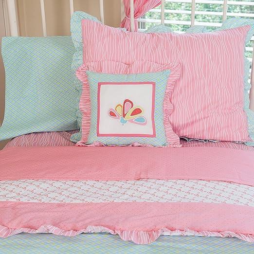 Pam Grace Creations Aqua Peacock Twin Bedding Set, Aqua Peacock