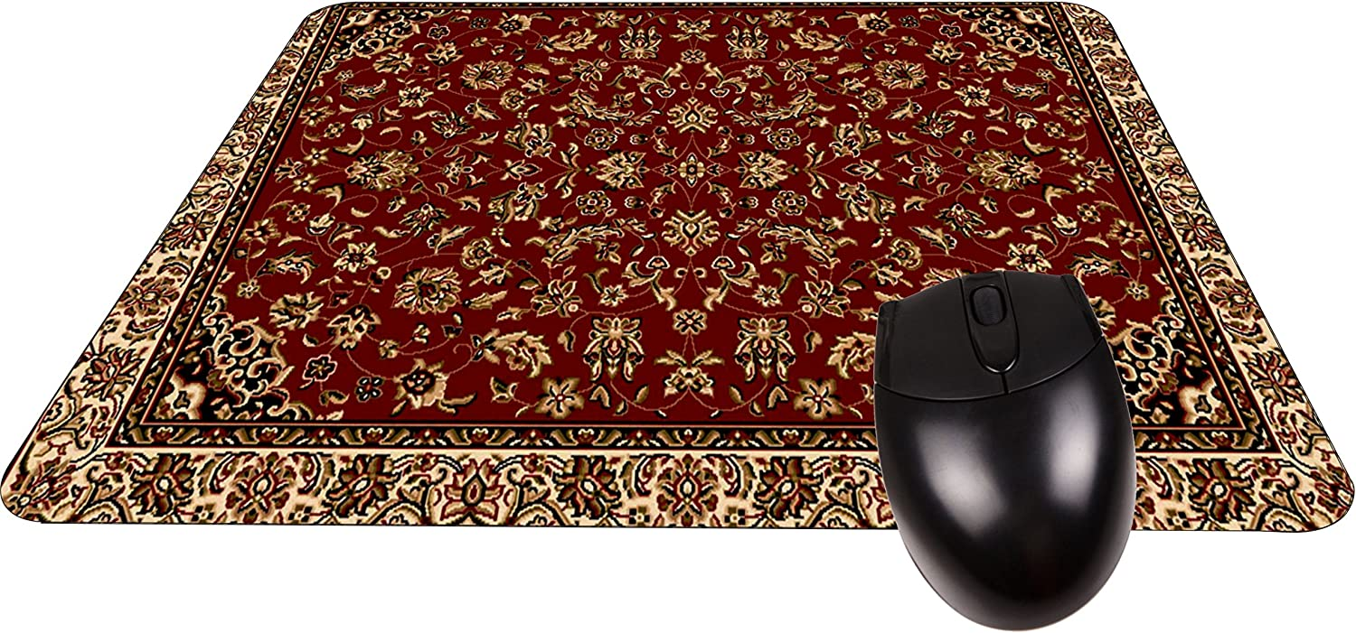 Stylish Burgundy Oriental//Persain Rug-Mat Square Mousepad Durable Office Accessory Made in The USA