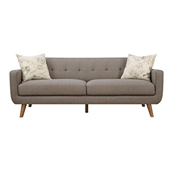 Emerald Home Remix Brown Sofa, with Pillows, Button Tufted Back, Telescoped Wood Legs, And Track Arm