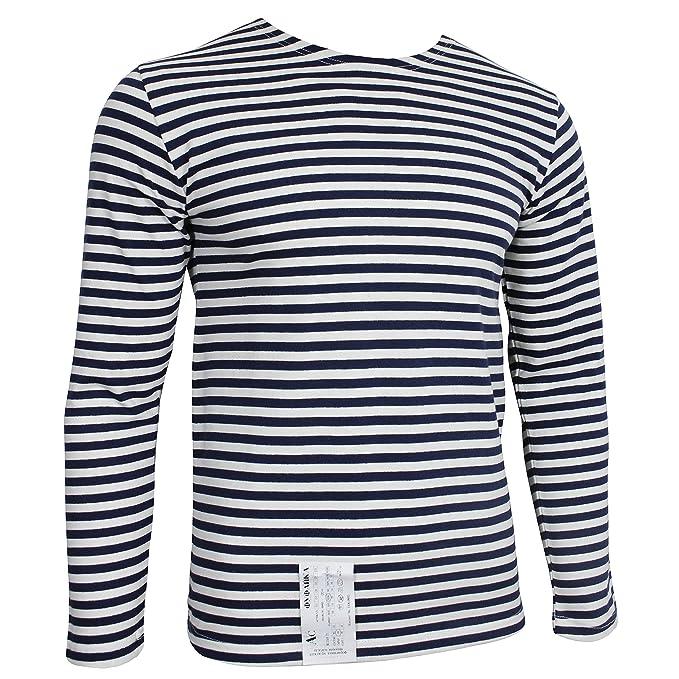 1960s Style Men's Clothing Blue Striped Long Sleeved T-Shirt $32.95 AT vintagedancer.com