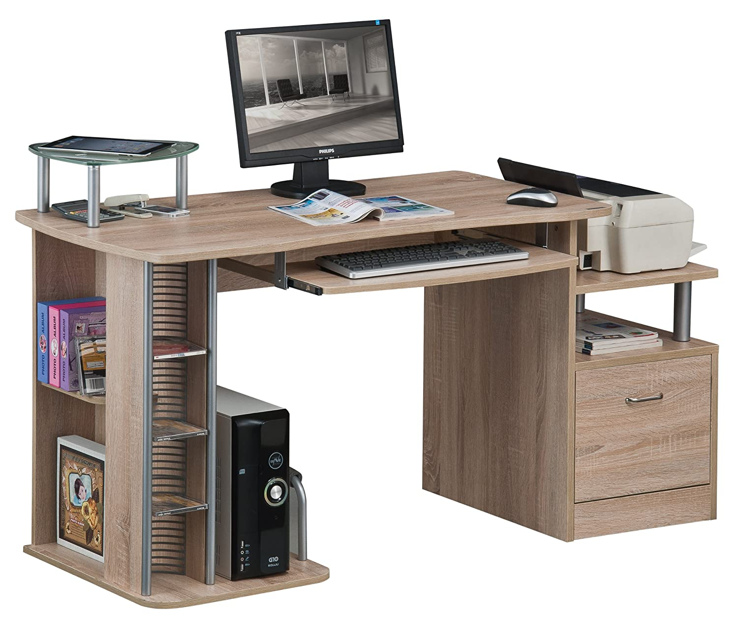 SixBros. Computer Desk - PC Workstation - Office Desk - Black - S-202A/85