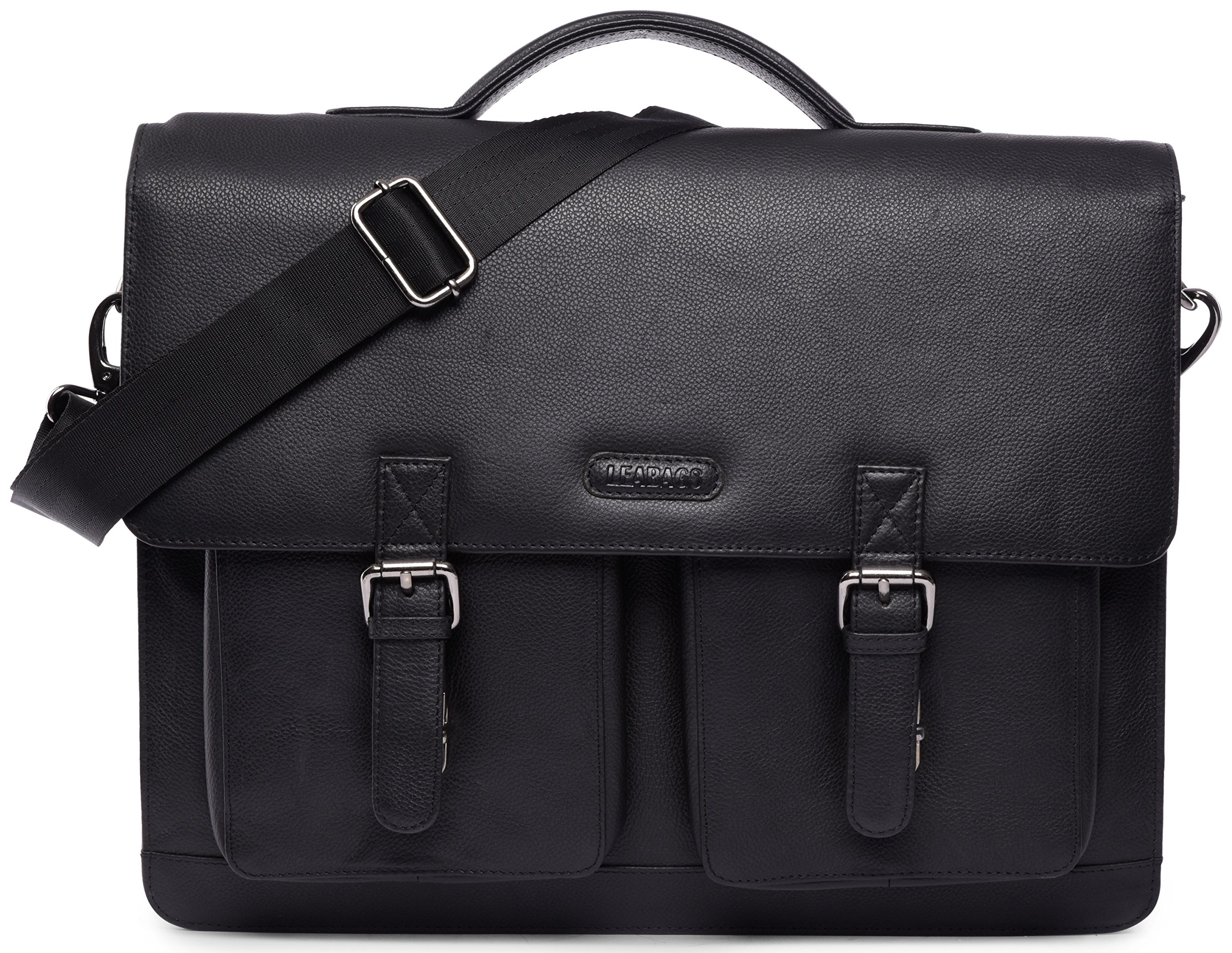 LEABAGS Miami genuine buffalo leather briefcase in vintage style - OnyxBlack