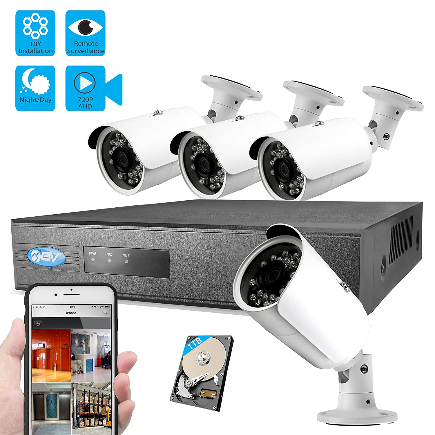 Best Vision Systems 8 Channel IP NVR Security System with 4 720P IP POE  Outdoor Bullet Cameras, 1TB HDD Included and Remote Surveillance (Black)