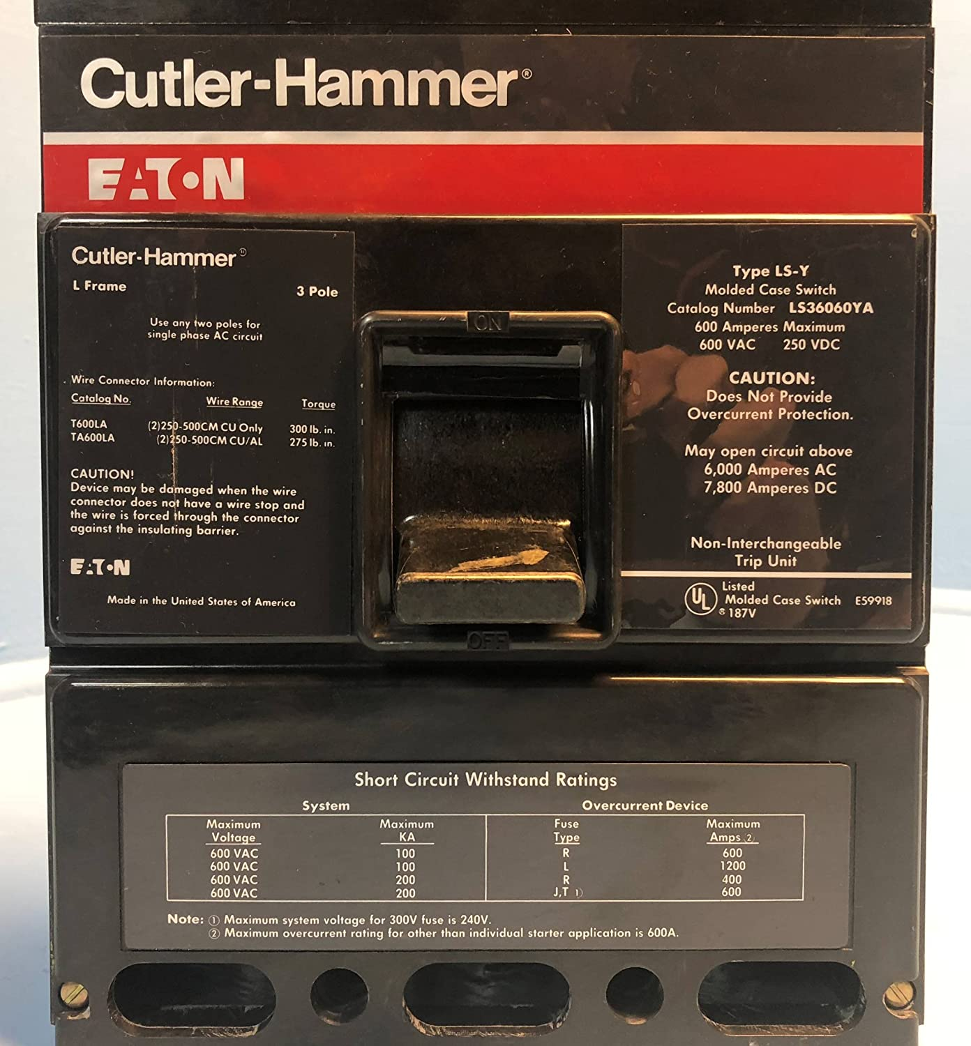 Cutler Hammer Ls36060ya 600a Molded Case Switch Type Ls Y L Frame Square D Qo120gficp 20amp 1pole Gfci Circuit Breaker Eaton 600 Amp Industrial Scientific