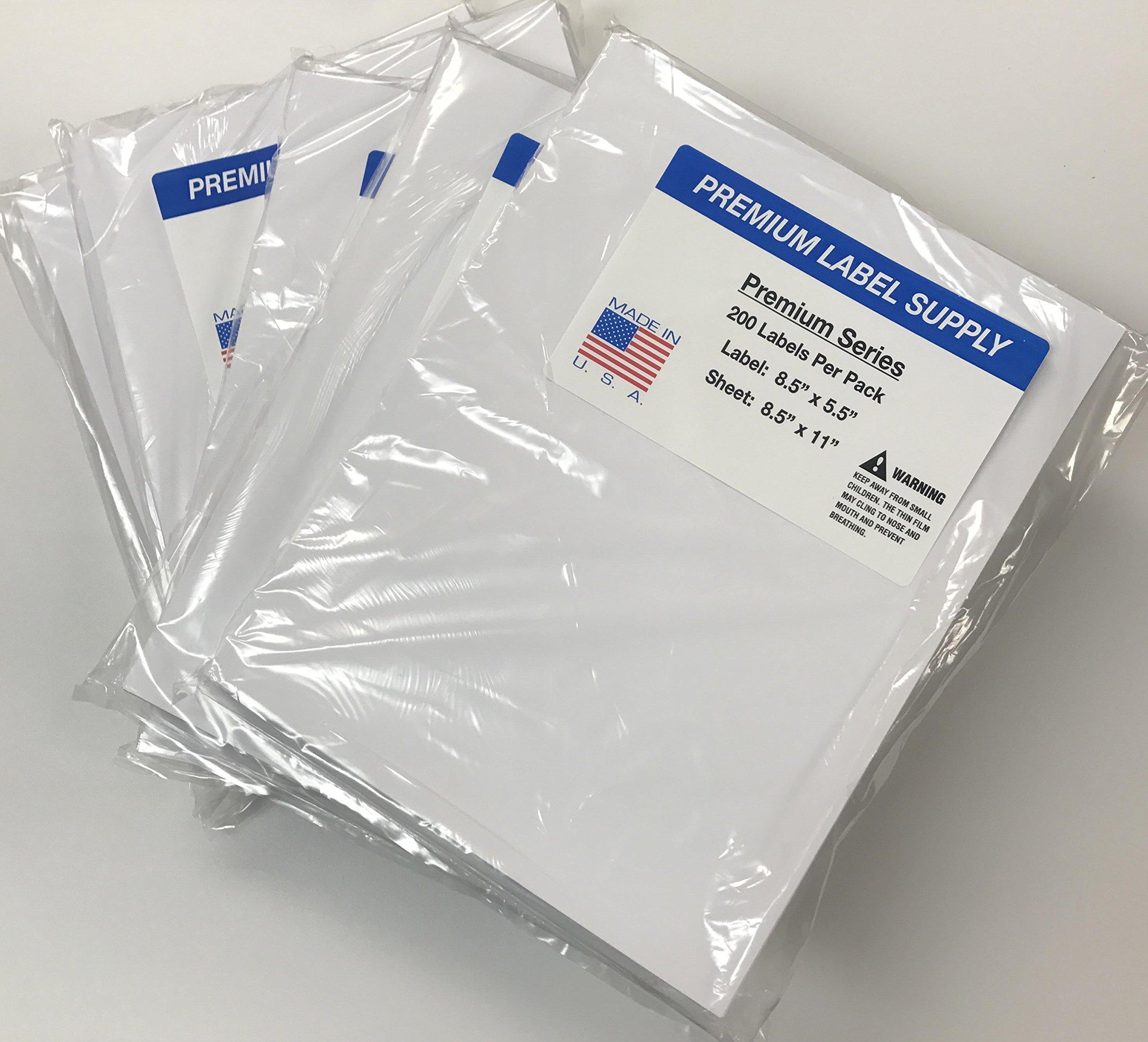 Premium Label Supply 8.5 '' x 5.5'' Half Sheet Self Adhesive Shipping Labels for Laser or Inkjet Printer (1000 labels)