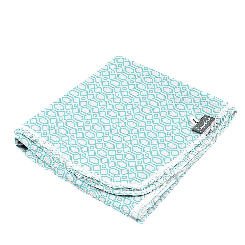 Kushies Premium Soft Newborn Flannel Receiving Blanket, 30 x 30 square for swaddling, Chevron Blue B540-505