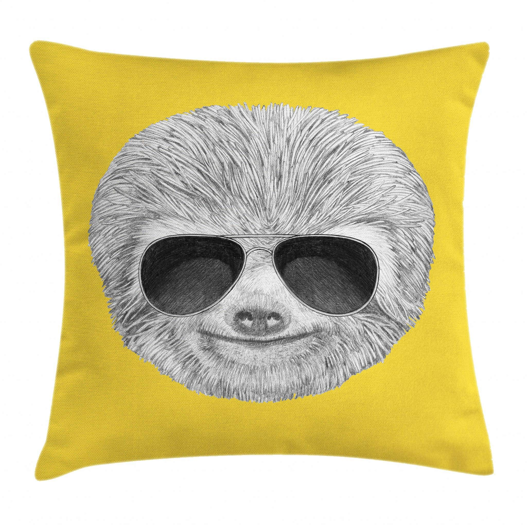 Ambesonne Sloth Throw Pillow Cushion Cover, Hipster Jungle Animal with Sunglasses Smiling Funny Expression Cool Character Print, Decorative Square Accent Pillow Case, 18 X 18 Inches, Yelow Grey